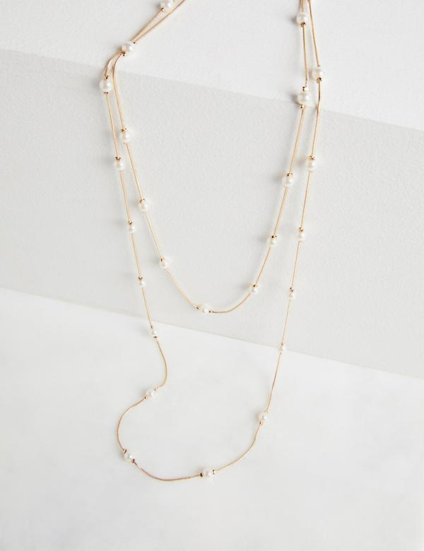 Wrapped Faux-Pearl Necklace