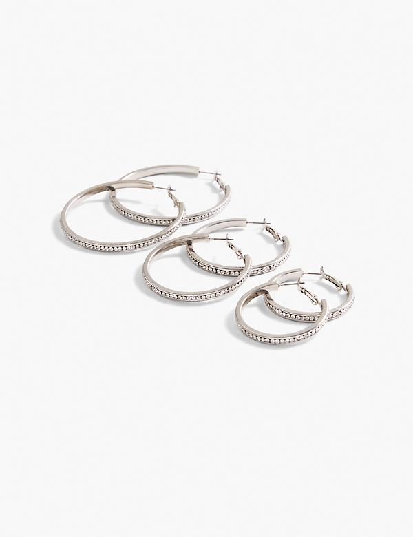 Pave Stone Hoop Earrings 3-Pack