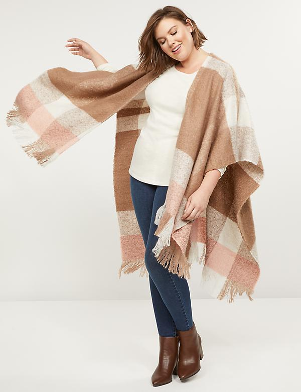 Oversized Plaid Fringe Poncho