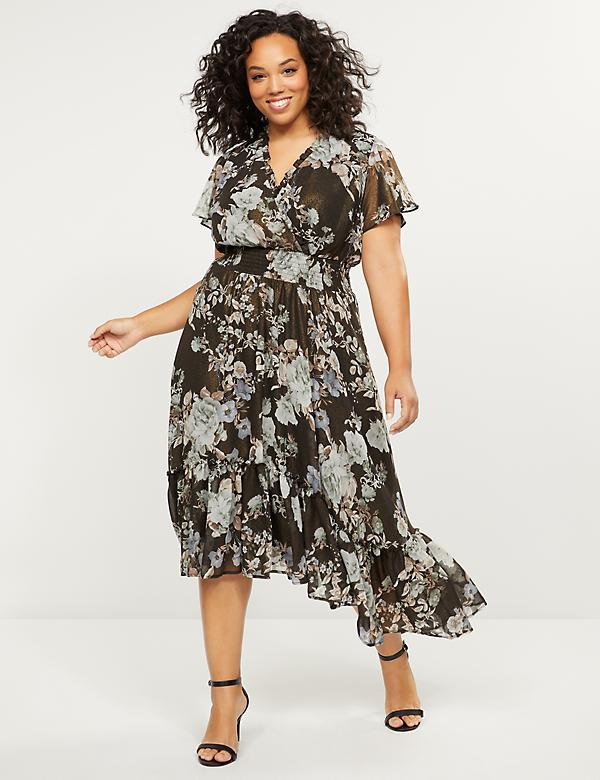 Metallic Floral Faux-Wrap Dress