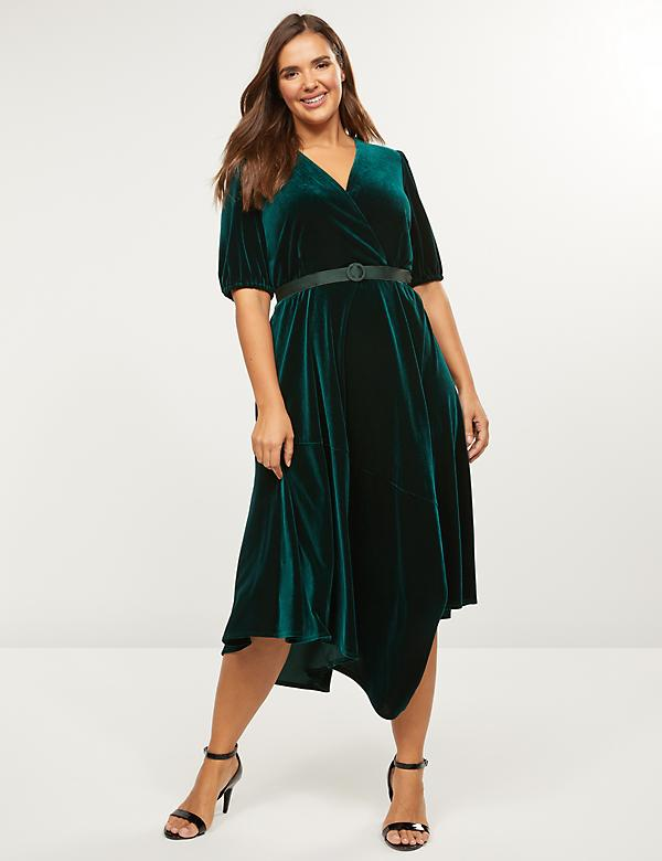Asymmetrical Velvet Faux-Wrap Dress