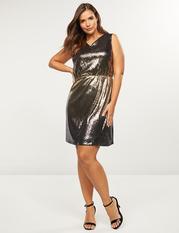 Ombre Sequin Fit & Flare Dress