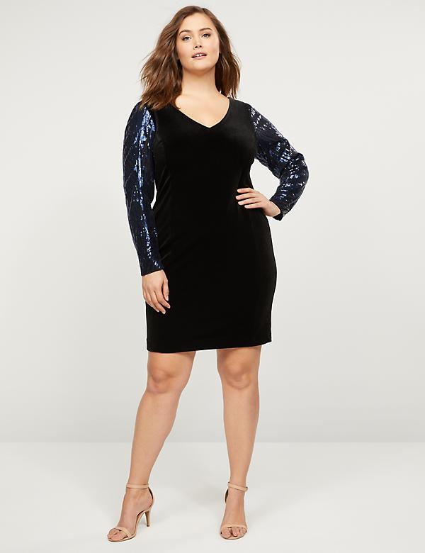 Velvet Sheath Dress With Sequin Sleeves
