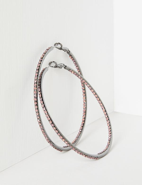 Stone Studded Hoop Earrings