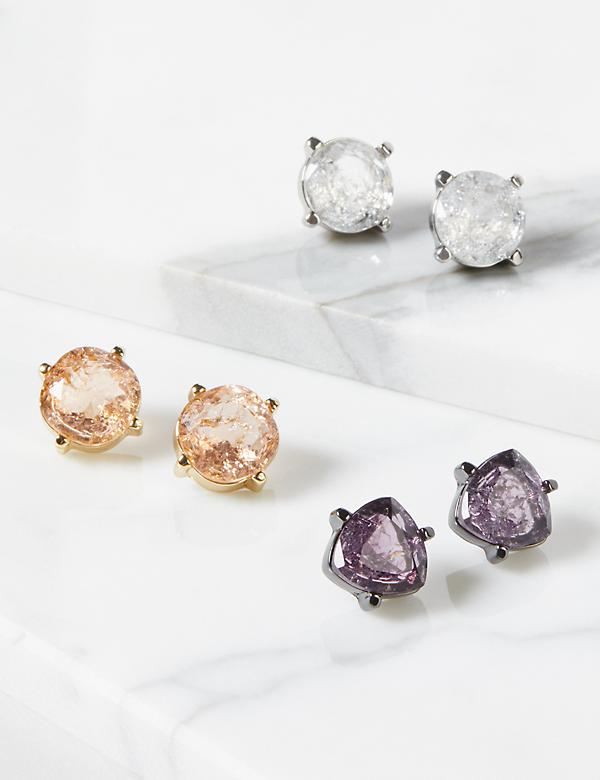 Stud Earrings 3-pack - Faceted Stones With Glitter