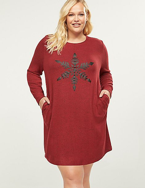 Snowflake Graphic Brushed Jersey Sleepshirt