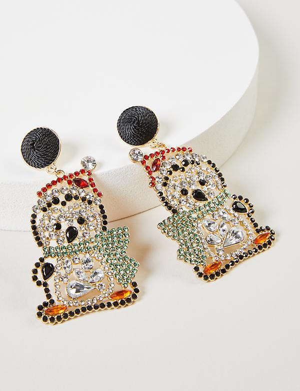 Sparkling Penguin Drop Earrings With Gift Box