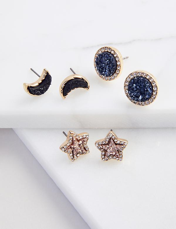 Stud Earrings 3-Pack - Faux Druzy Starry Night