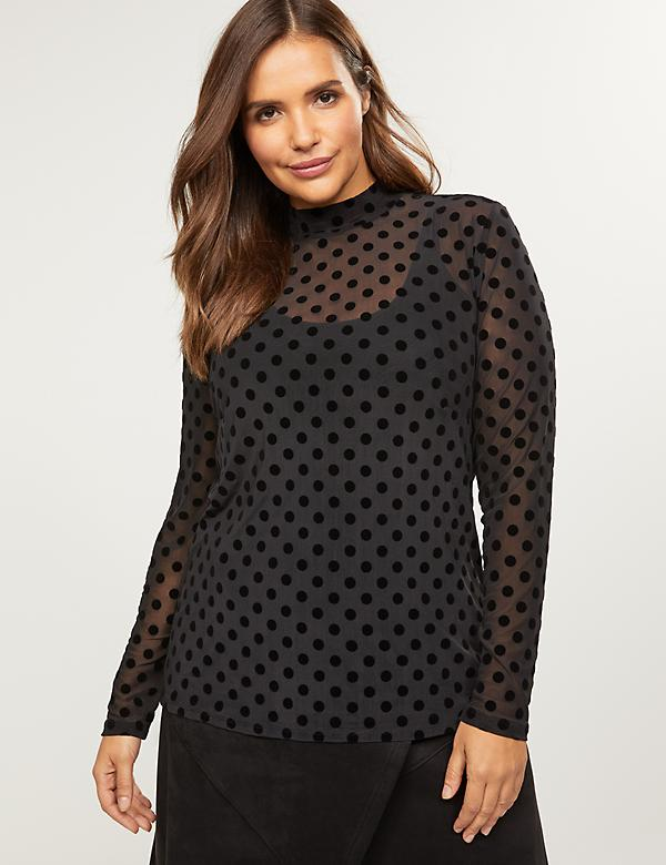 Velvet Dot Mock Neck Top