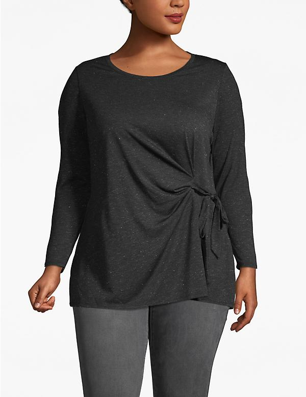 Heathered Tie-Front Tunic Top