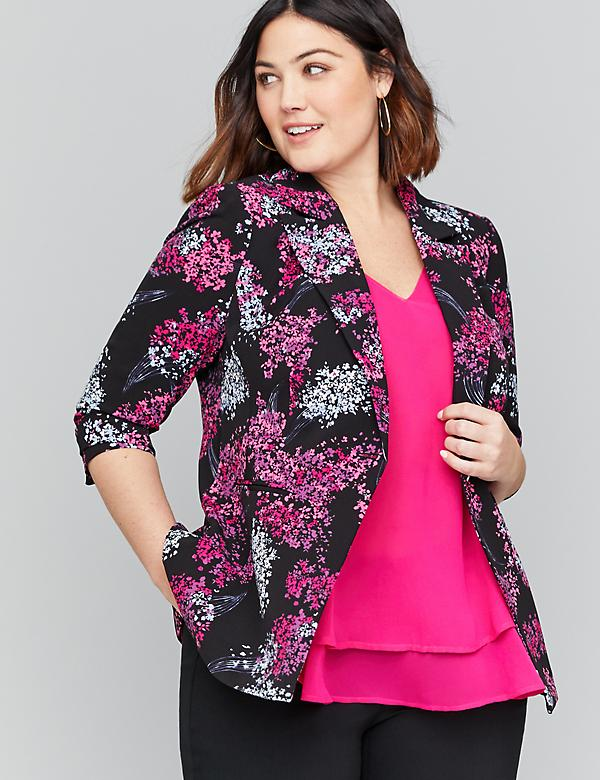 Bryant Blazer - Floral Crepe Single Button