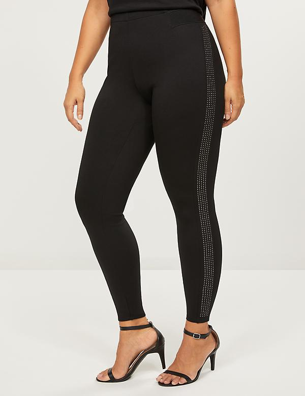 Ponte Leggings - Rhinestone Side Stripes