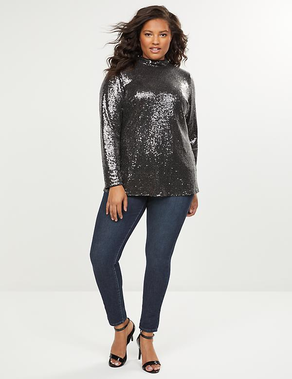 Sequin Mock-Neck Top