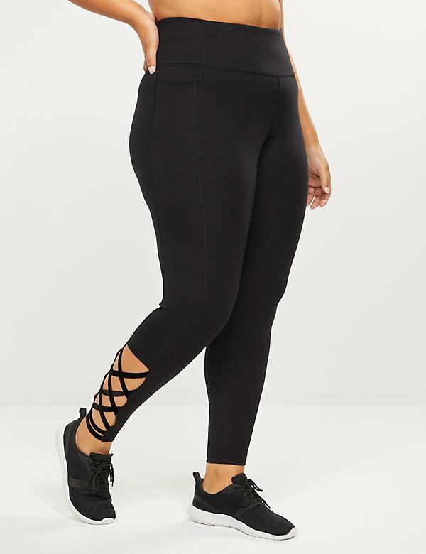 LIVI 7/8 Power Legging - Velour Strappy Hem
