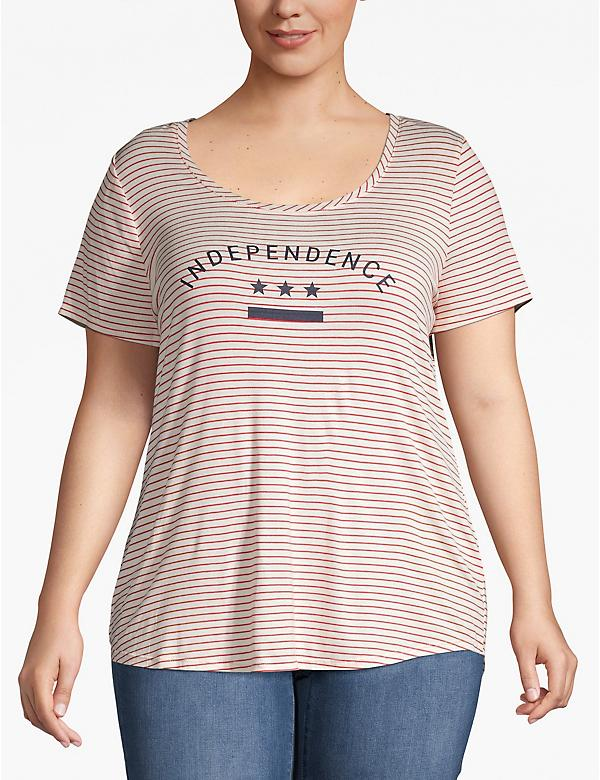 Striped Independence Graphic Tee