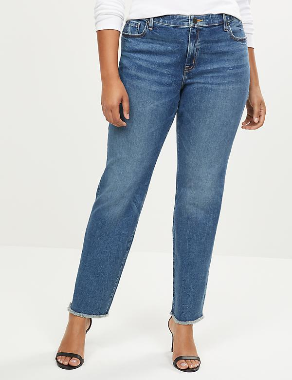 Signature Fit Straight Jean - Medium Wash With Frayed Hem