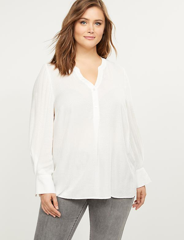 Textured Pleated-Sleeve Blouse