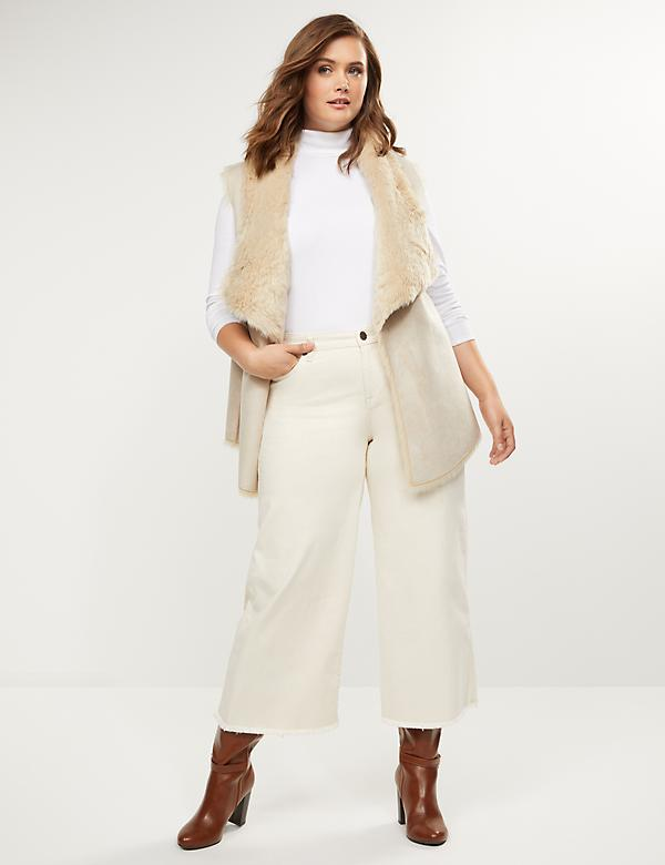 Wide Leg Crop Jean - Cream With Frayed Hem