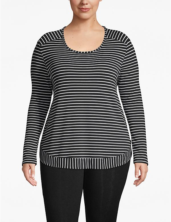 Active Striped High-Low Sweatshirt