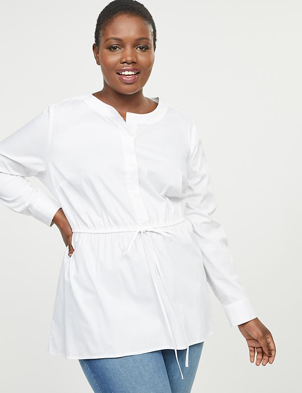 Cinched-Waist Poplin Tunic Top