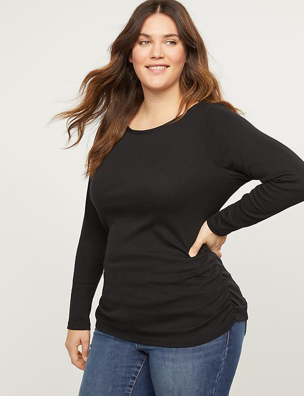 Ribbed Boatneck Ruched Side Tee