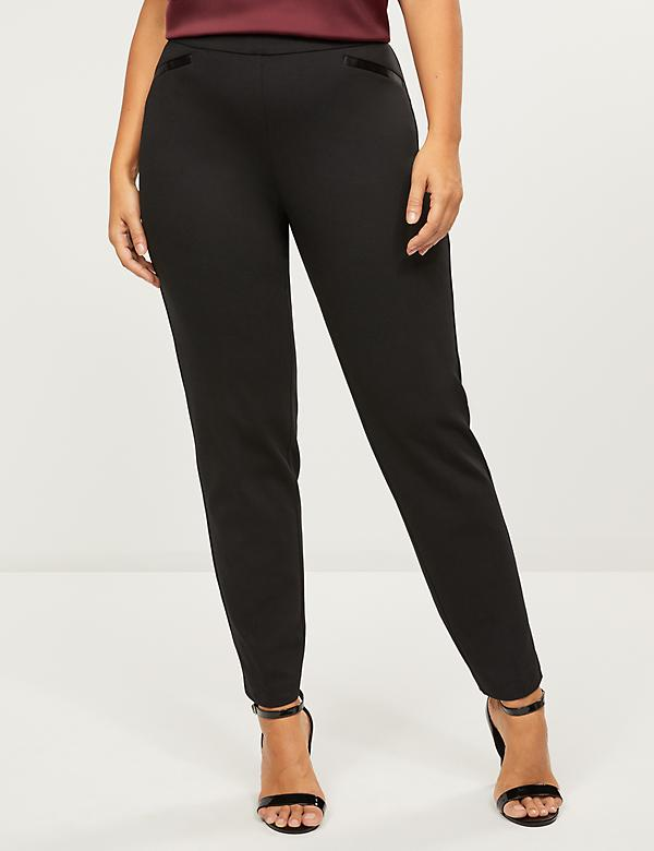 Ponte Pull-On Straight Ankle Pant -Satin Piping