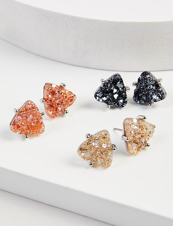 Stud Earrings 3-Pack - Faux Druzy Triangles