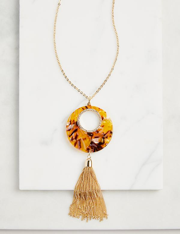 Tortoise Pendant Tassel Necklace
