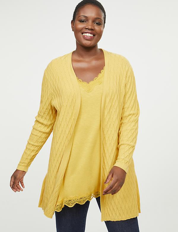 Pointelle-Stitch Duster Overpiece