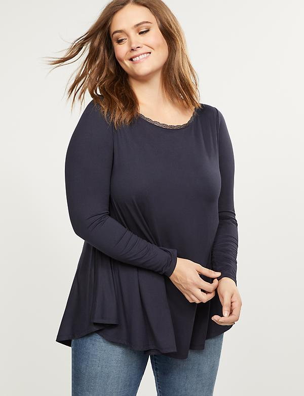 Swing Tunic Top With Neck Trim