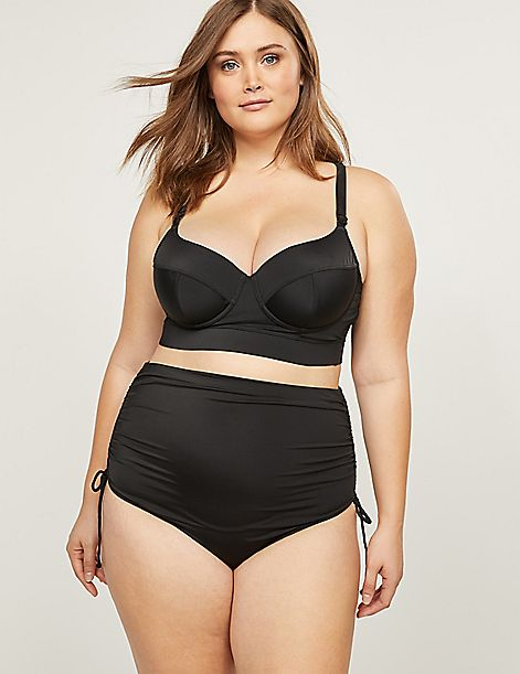 Strappy-Back Longline Swim Bikini Top With Balconette Bra