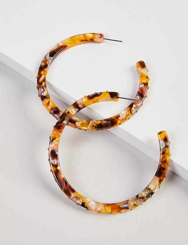 Resin Pave Hoop Earrings