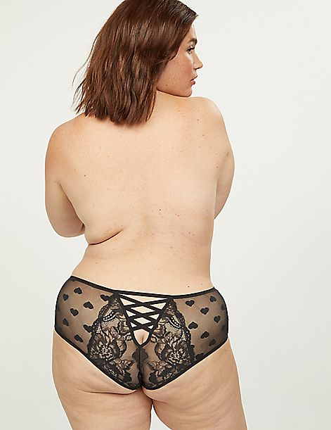 Mid-Waist Strappy-Back Cheeky Panty - Heart Mesh