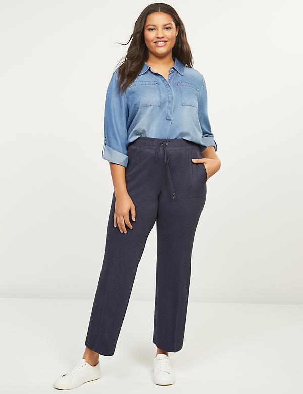 Textured Ponte Ankle Track Pant