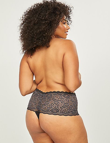 Cross-Dyed Lace Wide-Side Thong Panty With Split Gusset