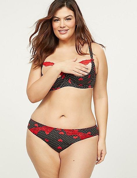 Open-Back Strappy Panty With Lace - Hearts