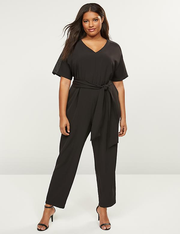 Lena Studded-Sleeve Jumpsuit