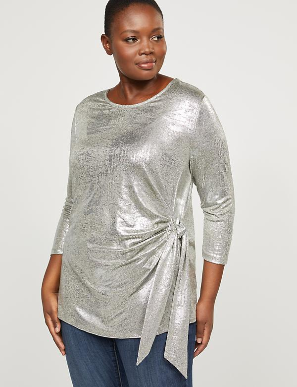 Foil Print Side-Tie Top