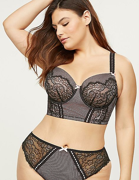 Lightly Lined Longline Balconette Bra - Fishnet & Lace