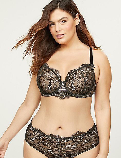 Lightly Lined French Balconette Bra - Lace With Heart Hardware