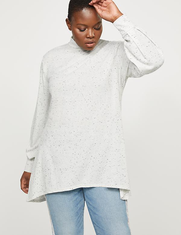 High-Low Mock-Neck Tunic Top
