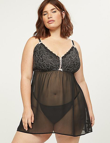 Embroidered Lace No-Wire Babydoll
