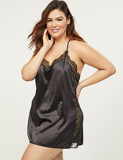 Satin Chemise With Eyelash Lace