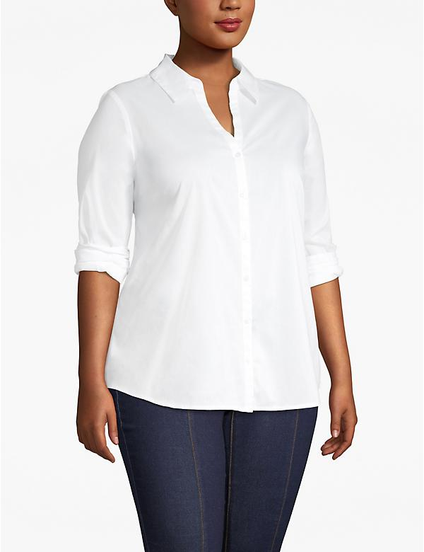 Collared Button-Front Top