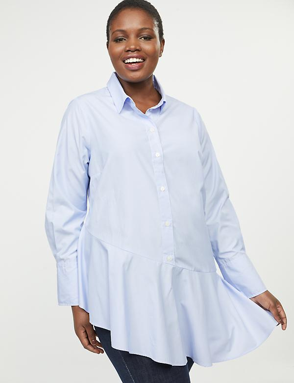 Asymmetrical Button-Front Tunic