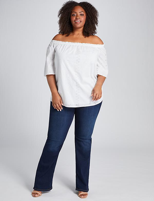 Eyelet Embroidered Off-the-Shoulder Top