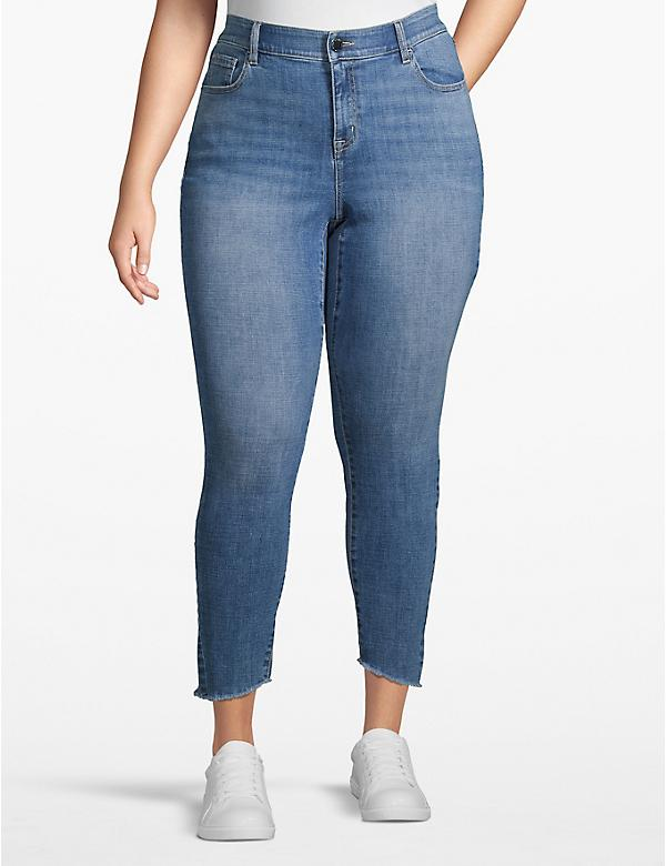 Venezia Skinny Ankle Jean - Light Wash With Raw Hem