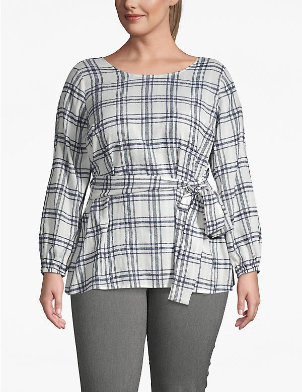 Textured Plaid Tie-Front Blouse