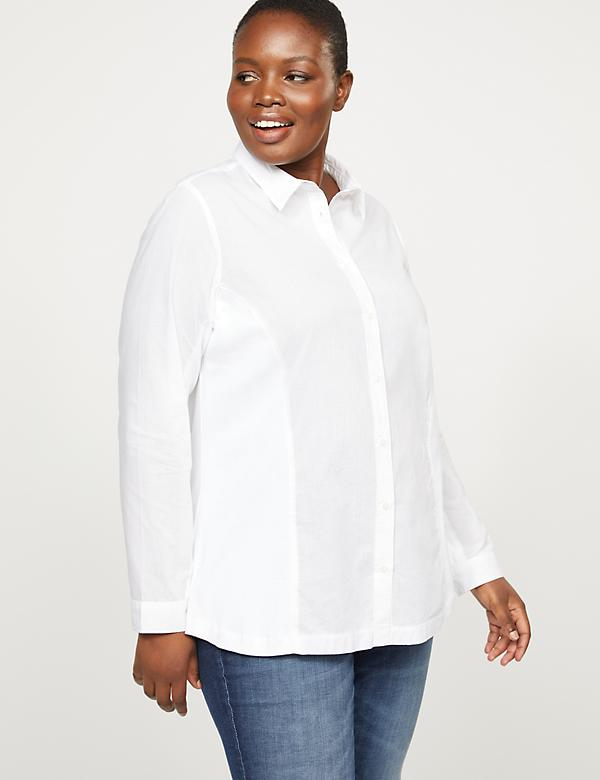 Button-Front Shirt With Ribbed Side Inset