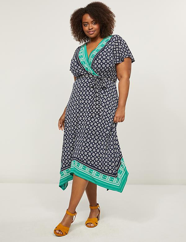 Printed Faux-Wrap Midi Dress
